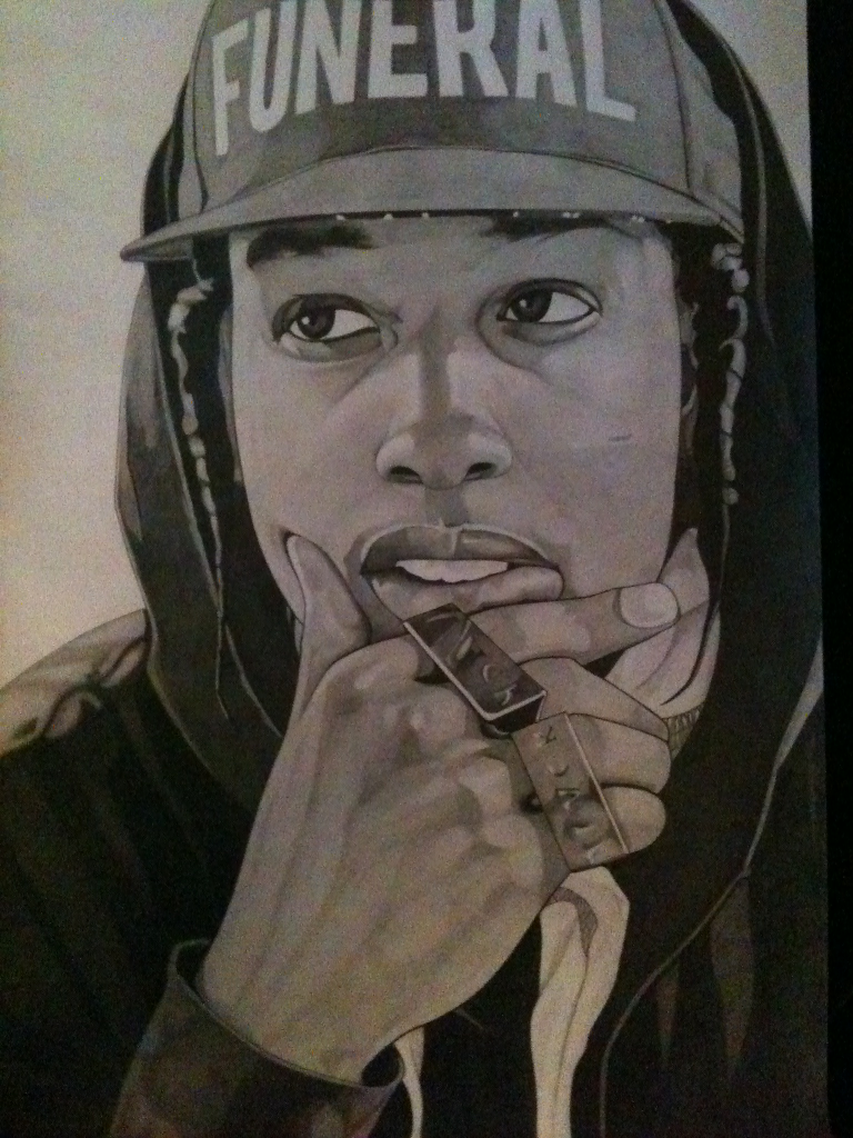 A$ap Rocky 420 by 297mm Pencil on paper